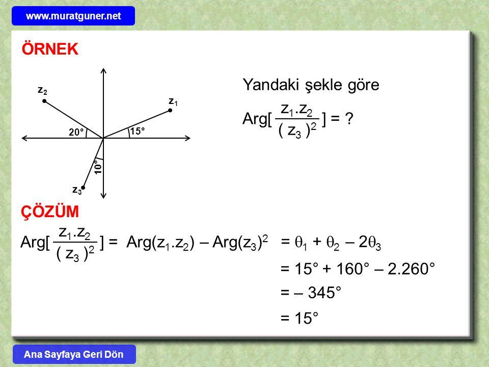 ÖRNEK Yandaki şekle göre z1.z2 ( z3 )2 Arg[ ] = ÇÖZÜM z1.z2 Arg[ ] =